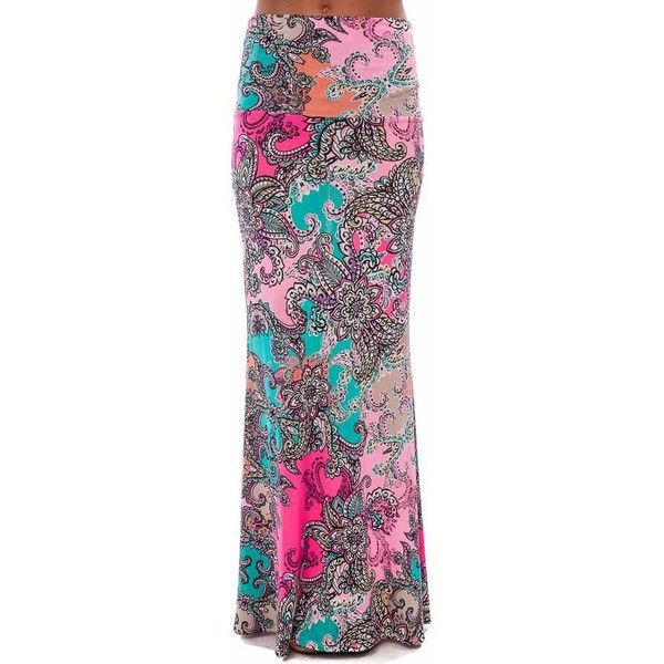Pink and Teal Unique Floral Pattern Maxi Skirt (48 CAD) ❤ liked on Polyvore
