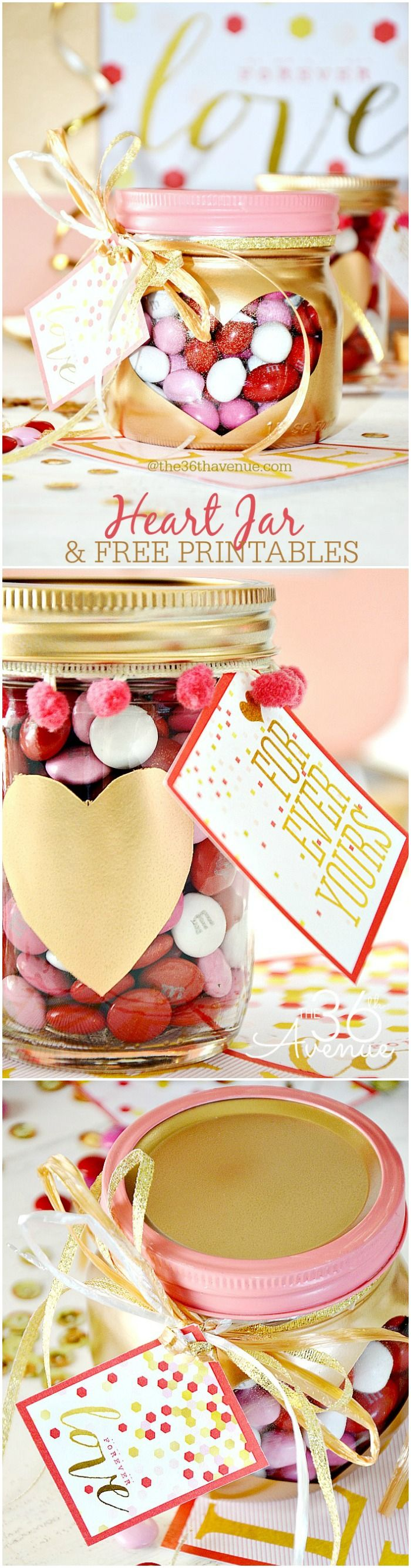 Valentine's Day Gift Idea - Super cute Heart Jars and Free Printables over at the36thavenue.com PIN IT NOW AND MAKE THEM LATER!