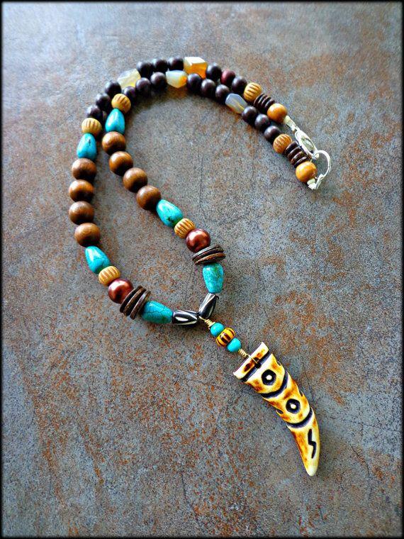 Mens Tribal Necklace Mens Bone Horn Pendant Necklace