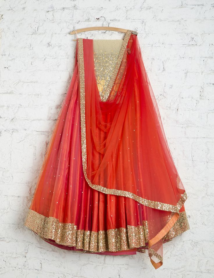 SwatiManish Lehengas SMF LEH 166 17 Coral shaded dual flair lehenga with matching dupatta and yellow floral threadwork and sequin blouse