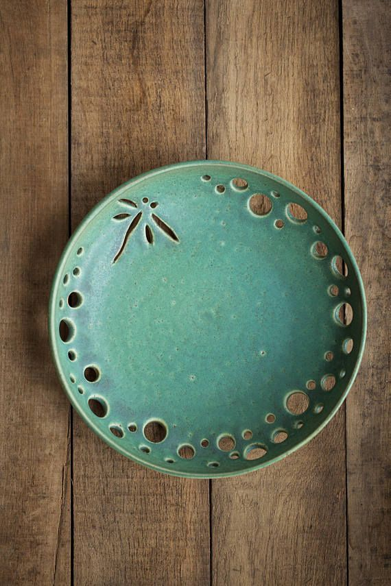 Ceramic plate Dragonfly Decorative pottery fruit bowl vessel Design Wedding gift for her Mother's Day Valentine's Day FREE SHIPPING In Stock