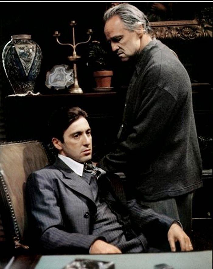 Marlon Brando and Al Pacino on set of The Godfather.