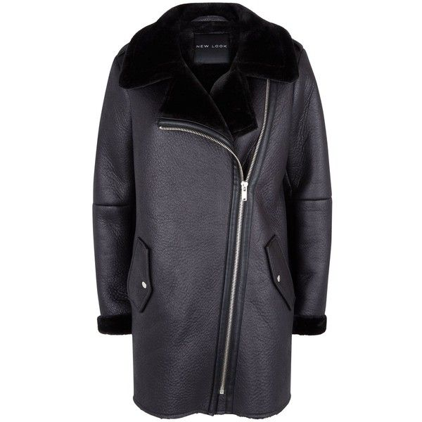 Black Faux Fur Lined Longline Aviator Jacket (1.339.870 IDR) ❤ liked on Polyvore featuring outerwear, jackets, long line jacket, longline jacket, aviator jacket and faux fur lined jacket