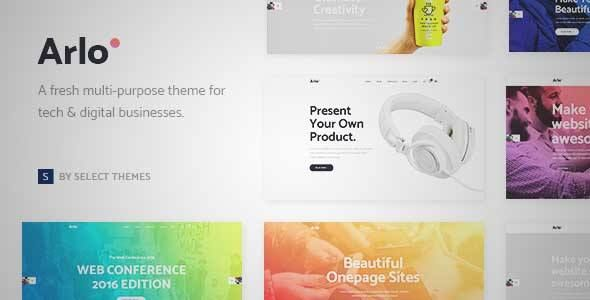 Download and review of Arlo – A Fresh Theme for Tech and Digital Businesses, one of the best Themeforest Technology themes