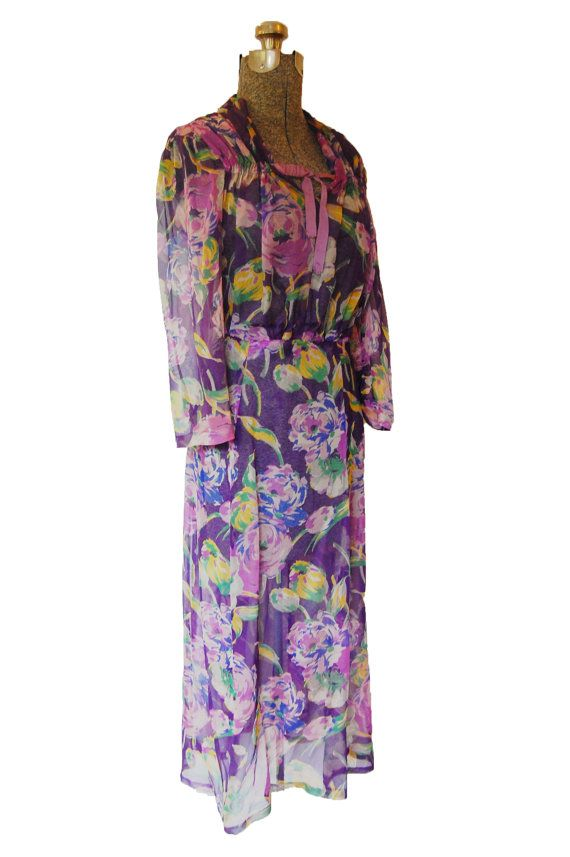 Vintage 1930s 30s Dress Sheer Chiffon by dejavintageboutique
