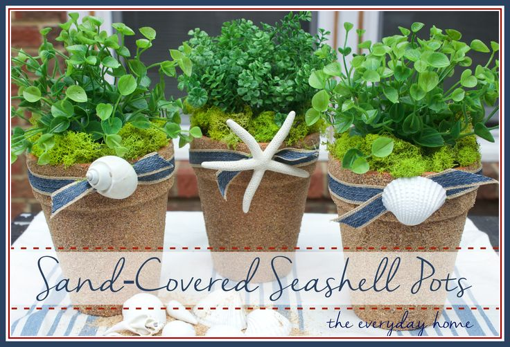 How to Make Sand Covered Pots-from The Everyday Home