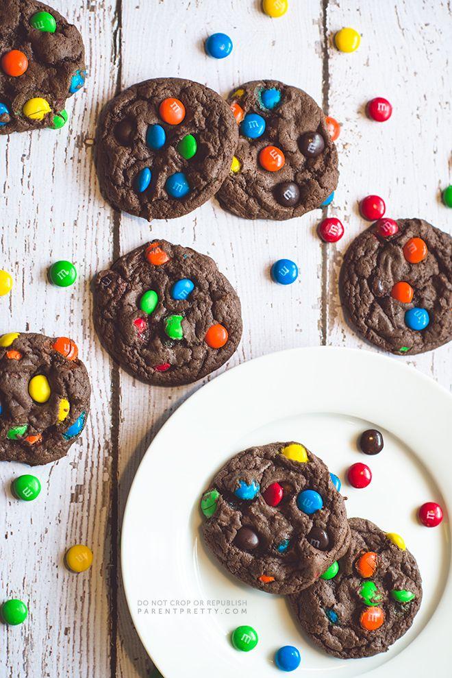 Chocolate M&M's cake mix cookies