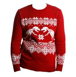 Red Retro Robotic Dinosaur Christmas Jumper Sweater. Um need!