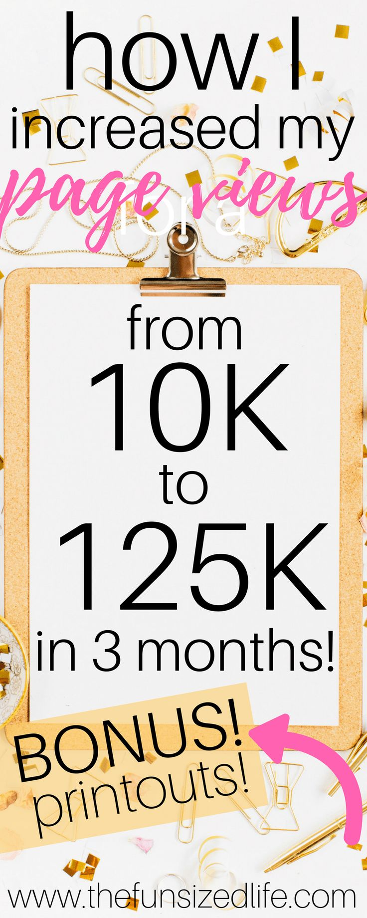 How I Increased My Page Views from 10K to 125K in 3 Months. How to blog for page views & blog traffic with blog promotion and better blogging organization.