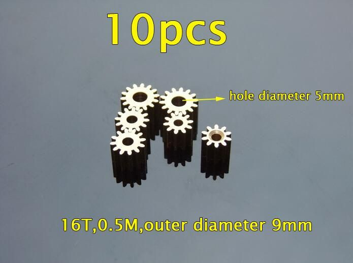 Free Shipping 10PCS 16T Metal Gear Copper Pinion 0.5M Center Hole Diameter 5mm 775 Motor Gear Spare Parts For DIY Model