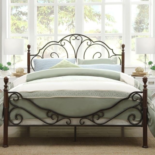 New Bronze Iron Queen Size Traditional Poster Bed Frame Bedroom Furniture  Metal