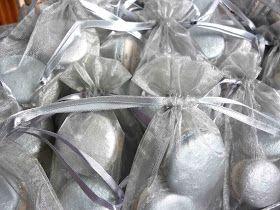 Silver macaron wedding favors.  Via diaryofamadhousefrau.com