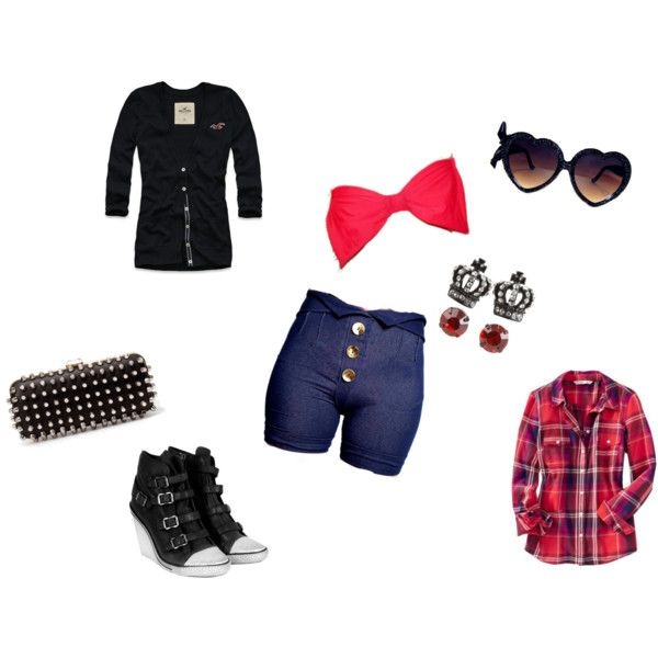Spring/Summer Style 1. High waist shorts, bandeau top, a cute cover up (cardigan or plaid shirt), wedge sneakers, heart glasses, a cute studded clutch and adorable earrings.
