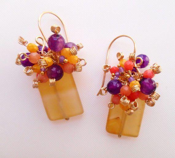 Amelie earrings gemstone cluster earrings by Gemjewelryandmore