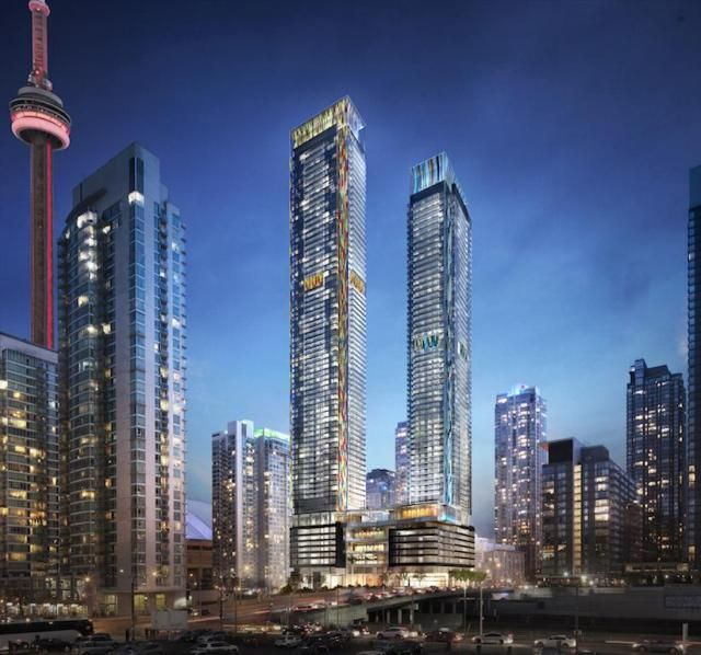 Concord CityPlace's tallest towers will rise at Spadina and Bremner, image courtesy of Concord Adex
