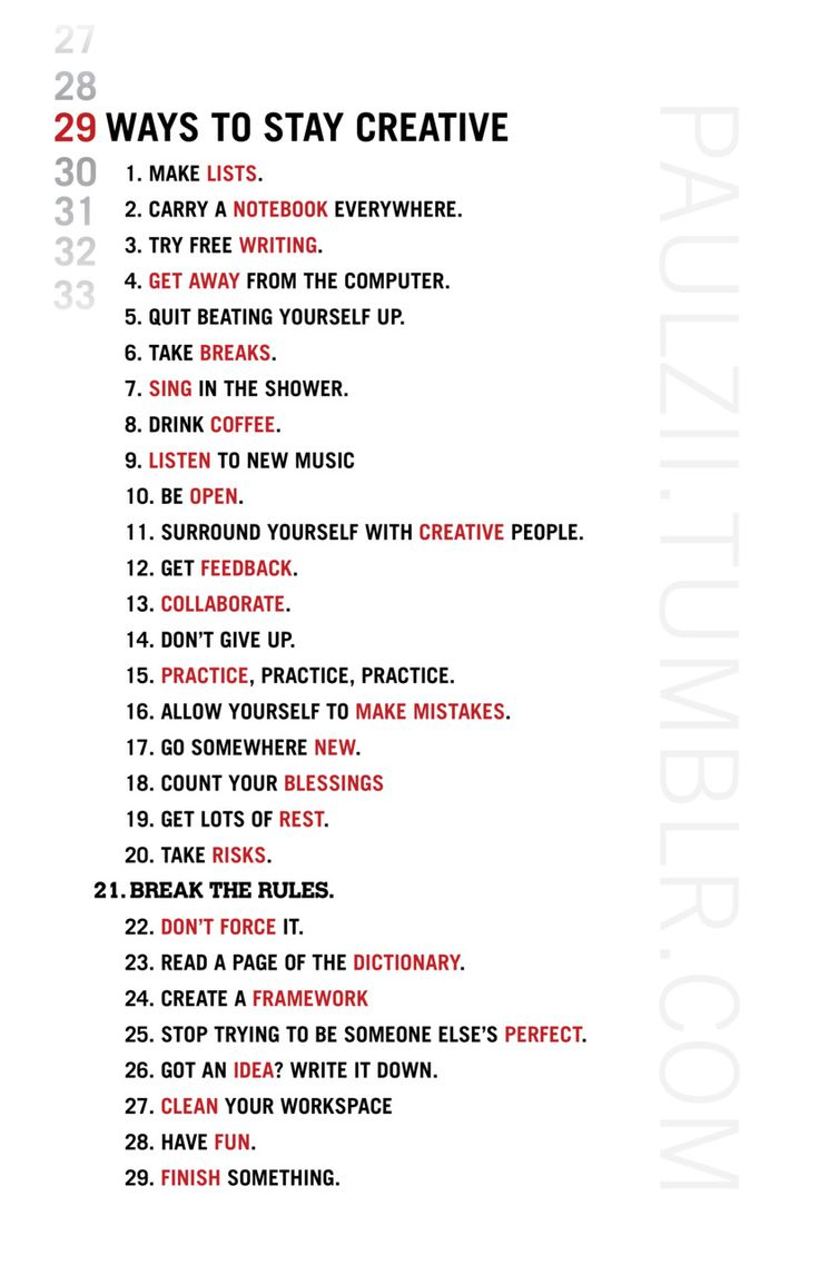29 ways to stay creative (video)