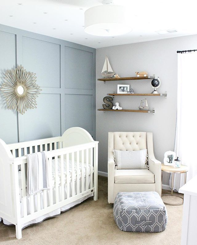 Gray Blue Nursery Gender Neutral Baby Nursery Nursery Room Boy