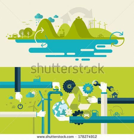 Set of flat design vector illustration concepts for ecology, recycling and green technology. Concepts for web banners and printed materials. – stock v…