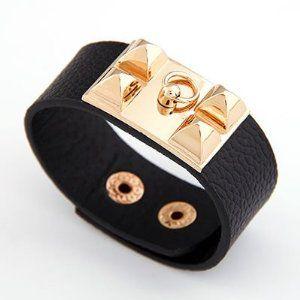 Leather Pyramid Cuff Bracelet (Black) null. $18.38