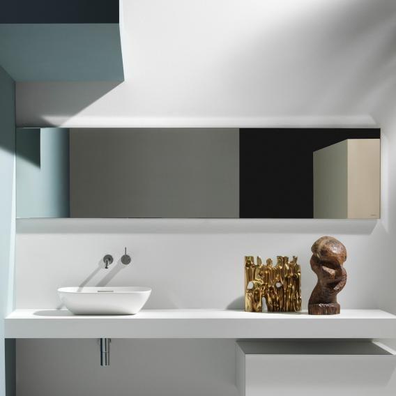 Badspiegel Rund Mit Ablage Und Holzrahmen Ohne Beleuchtung Fur Ihr