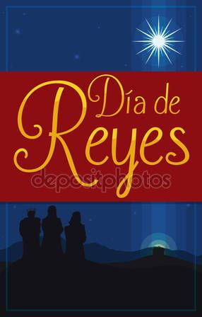 Postcard for 'Dia de Reyes' for Epiphany with Three Magi