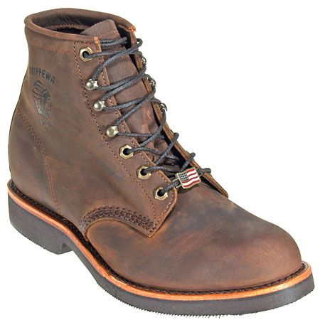 Chippewa Boots Men's Brown Steel Toe 20066 USA-Made EH Vibram Work Boo