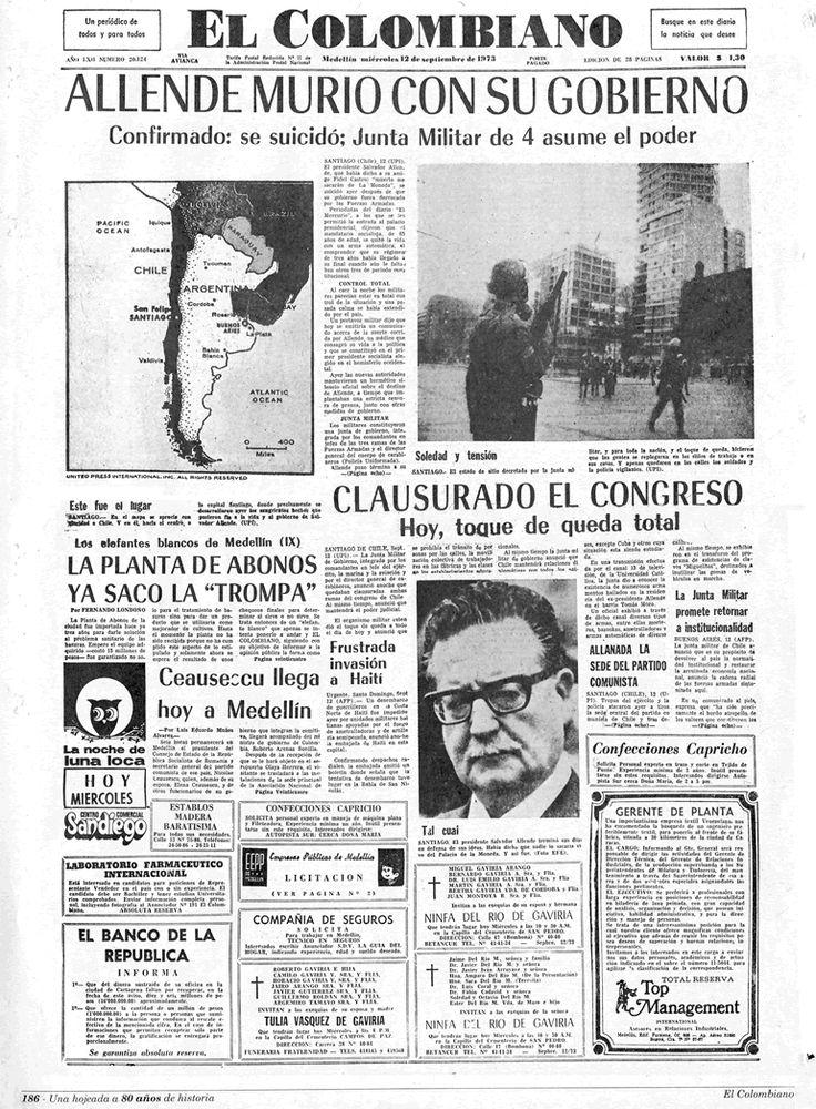 """Diario """"El Colombiano"""" (Colombia) - 11 Septiembre 1973"""