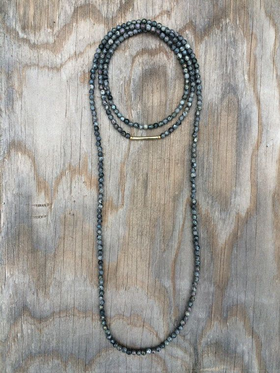 Long Beaded Double Wrap Choker Collar Necklace with Faceted Iridescent Black…