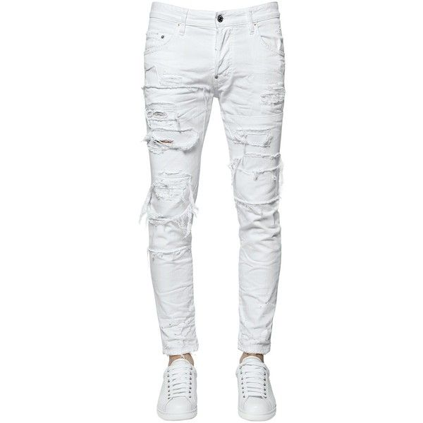 Dsquared2 Men 16cm Skater Destroyed Cotton Denim Jeans ($790) ❤ liked on Polyvore featuring men's fashion, men's clothing, men's jeans, men, jeans, men's clothes, pants, white, mens jeans and mens white distressed jeans