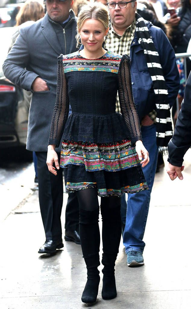 Kristen Bell from The Big Picture: Today's Hot Photos  The busy mom makes her rounds on the morning shows in a Philosophy di Lorenzo Serafini dresswhile promoting her new movie CHiPS.