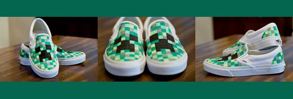 DIY Minecraft shoes | The Green Wife  So making these for kiddo!