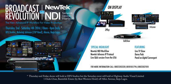 NewTek NDI now on show at the Broadcast Revolution Show 2016 in Lagos, Nigeria