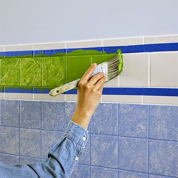 For your pink bathroom. How to Paint Tile  Give outdated ceramic tile walls a new look by decoratively painting them in colors you love. Enamel crafts paint (available at crafts stores and discount stores that carry crafts supplies) covers well on most tiles. @Nicole