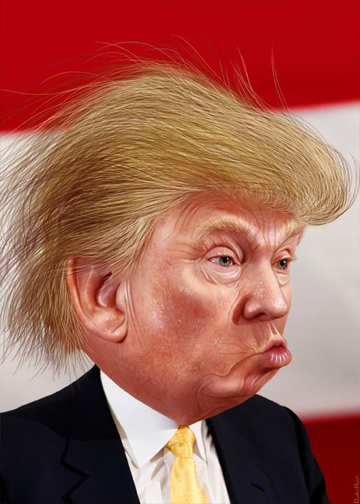 Donald John Trump, Sr., aka Donald Trump, is a celebrity business man and media personality. He is a candidate for president in the 2016 Republican primary.  This caricature of Donald Trump was adapted from Creative Commons licensed images from Michael Vadon's flickr photostream.