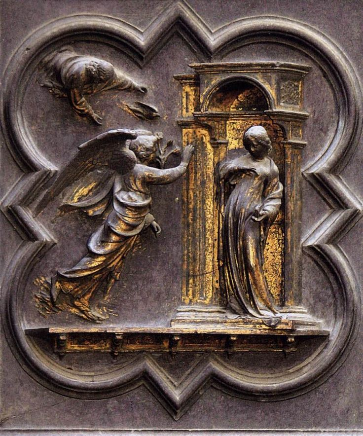 The Annunciation 1403-24 | Gilded bronze, 52 x 45 cm (inside molding) | Baptistry, Florence | Lorenzo Ghiberti