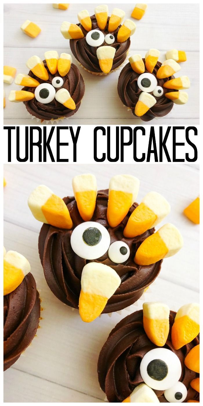 Make These Turkey Cupcakes For Your Thanksgiving Dinner Kids And Adults Alike Will Love These Easy To Make Desserts Thanksgiving Cupcakes Turkey