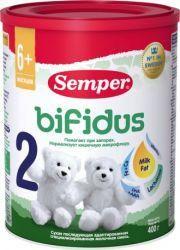 Сэмпер бифидус 2 молочная смесь с 6 месяцев 400г  — 858р. ------ О продукте:  Semper Bifidus Nutradefense 2 — адаптированная последующая молочная смесь с пребиотиком лактулозой и молочным жиром.    Лактулоза способствует росту собственных бифидо- и лакто-бактерий, эффективно влияет на частоту и консистенцию стула у детей со склонностью к запорам. Semper Bifidus обеспечивает комфортное пищеварение, устанавливает и поддерживает оптимальный баланс микрофлоры кишечника.    Состав:  Лактоза…