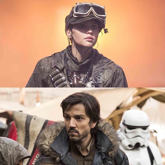 Stardust in her Eadu combat outfit. And Captain Cassian in his blue rebel parka on Jedha. Again, costume designs in Rogue One are incredible.
