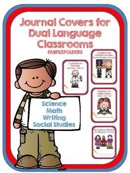 This is a collection of 44 journal covers for dual language classrooms. I have combined science, social studies, math and writing journal covers into a bundle.  You are saving 50% by purchasing the bundle.This collection includes:10 Science journal covers for you to choose from.(5 in color and 5 in black and white)10 Social Studies journal covers for you to chose from.(5 in color and 5 in black and white)12 Math journal covers for you to choose from(6 in color and 6 in black and white)12…