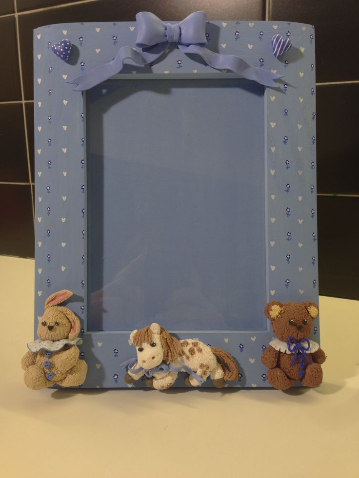 Baby blue frame - fimo decorated