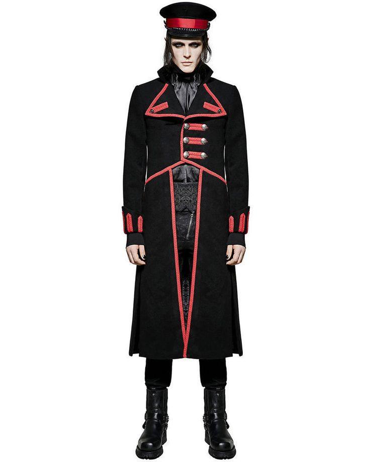 New Mens Long Coat Jacket Black Red Goth Steampunk Regency Aristocrat Military #Handmade #Trench