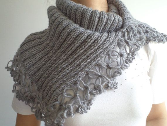 Wool Grey Cowl Cowl Women neck warmer Capelet by BloomedFlower, $40.00
