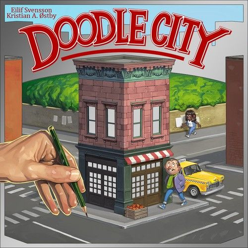 Doodle City is a quick family game of city building. By drawing a network of roads on their play sheet, players are building a city and trying to score points for their hotels, shops and taxis — all while avoiding pollution.