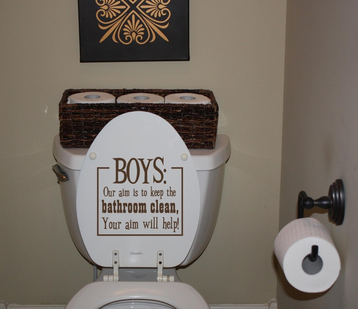 Simply Said Design applied to toilet lid.  Boys need all the help they can get with their aim!