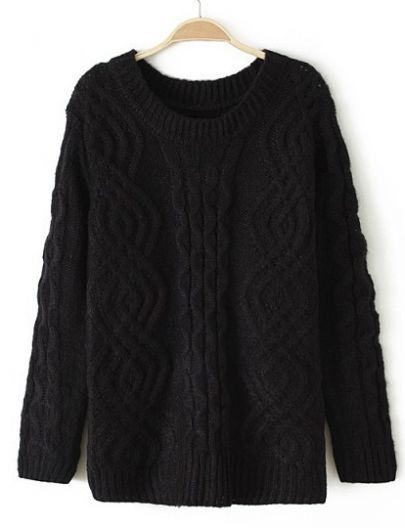 Black Long Sleeve Vintage Cable Knit Sweater