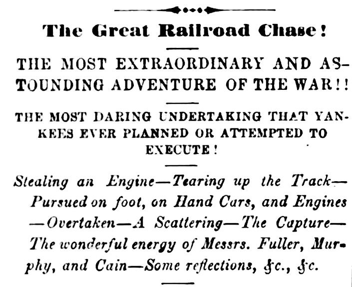 """April 12, 1862: James Andrews and 19 other raiders stole the locomotive 'General' in Big Shanty, Ga. News of the event, shown from the April 15 edition of Atlanta's """"Southern Confederacy"""" newspaper. #civilwar"""