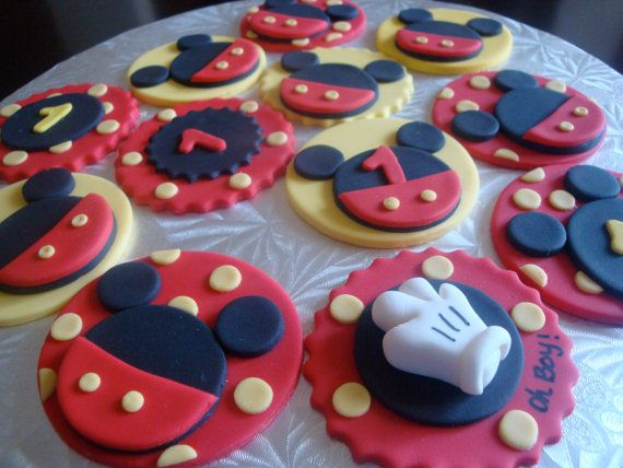 Edible Mickey Mouse Cupcake Toppers by icingraincakes on Etsy, $18.00