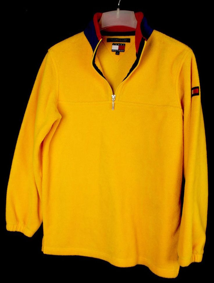 VINTAGE TOMMY HILFIGER YELLOW FLEECE PULLOVER JACKET SIZE S SMALL ...