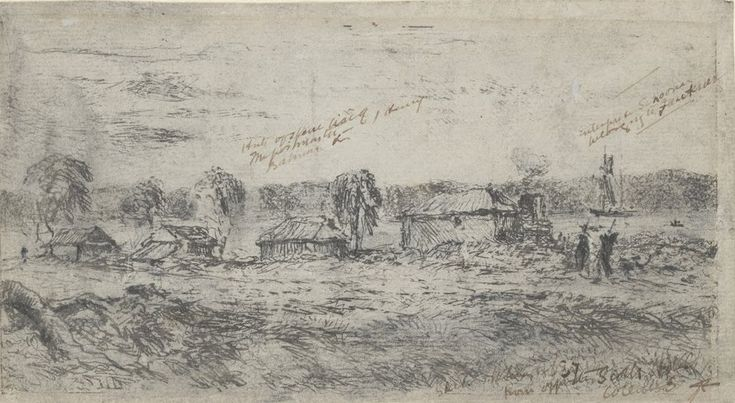 Settlement at Port Phillip, from Scots Hotel (1836/37) Robert Russell (1808-1900)