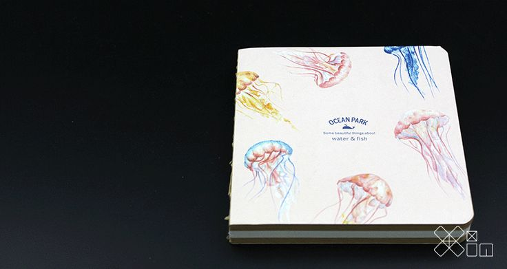 Ocean Park-book journal notebook-240 page-card paper cover - Xinsational